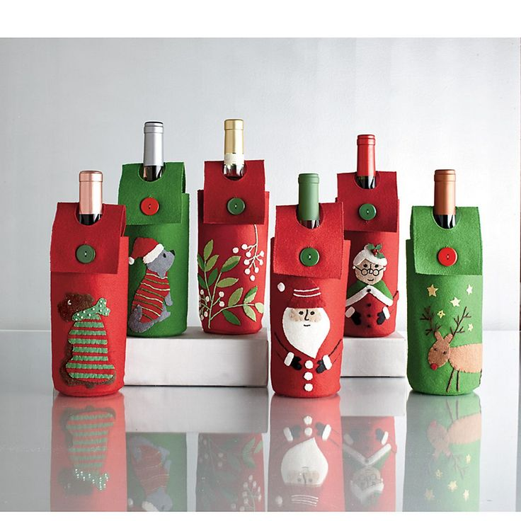 Wine Bottle Holders - Add some cheer to that bottle of bubbly with these whimsical wine bottle holders!Gift Ideas, Wine Bottle Holders, Gift Wraps, Bottle Decor, Wine Bottles, Company Stores, Christmas Gift, Bottlecork Crafts, Hostess Gift