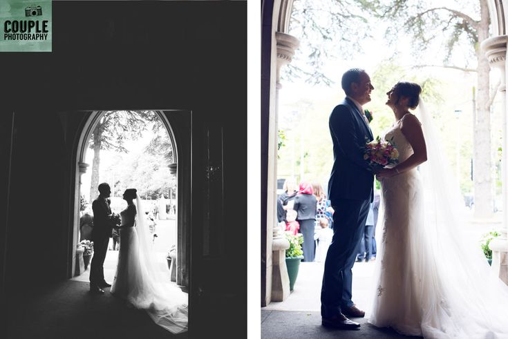 The bride & groom silhouetted in front of the church door. Weddings at Clontarf Castle Hotel by Couple Photography.