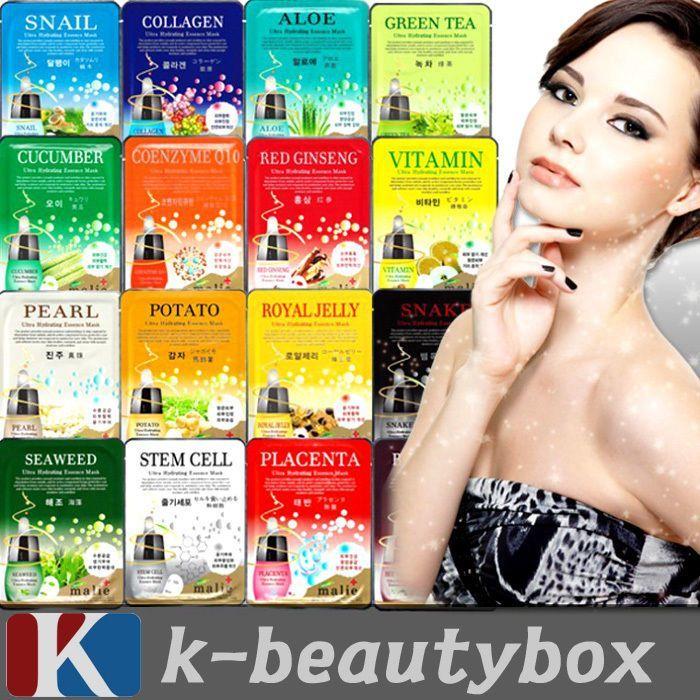 30pcs Korean Essence Facial Mask Sheet, Moisture Face Mask Pack Skin Care Lots #…