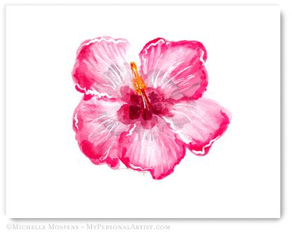 Tropical Hibiscus Painted Bloom Note Cards Mospens