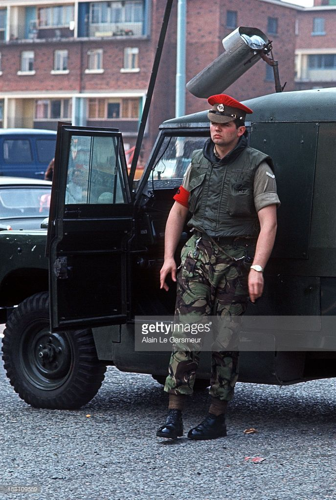 MAY 1972. Royal Military Police in Belfast City Center during The Troubles, Northern Ireland.