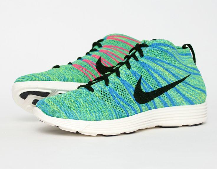 #Nike Lunar #Flyknit Chukka Green Blue Glow Pink #Sneakers