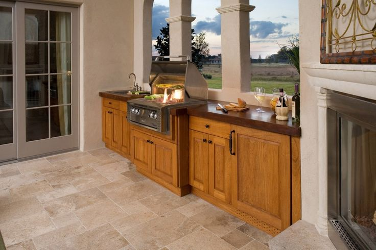 Spectacular teak outdoor cabinet furniture with red oak butcher block