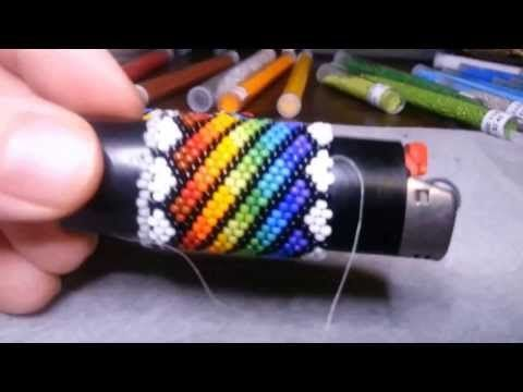 Beading:  Lighter Cover Freestyle Repeating Design & Execution Designing and constructing a lighter cover from start to finish, free style. Watch me carefully screw it up, rationalize, and recover, think about stuff, etc...