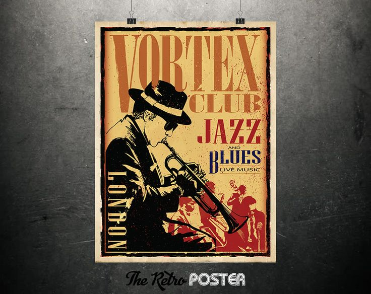 Vortex Club - London - Jazz & Blues - Music Prints, Jazz Clubs, Blues Poster, Travel Poster England, Travel Poster London, London Art Print by TheRetroPoster on Etsy