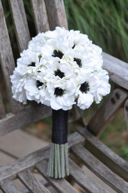 Wedding Flowers, Wedding Bouquet, Keepsake Bouquet, Bridal Bouquet Bridal white anemone wedding silk flower bouquet. on Etsy, US$125,00