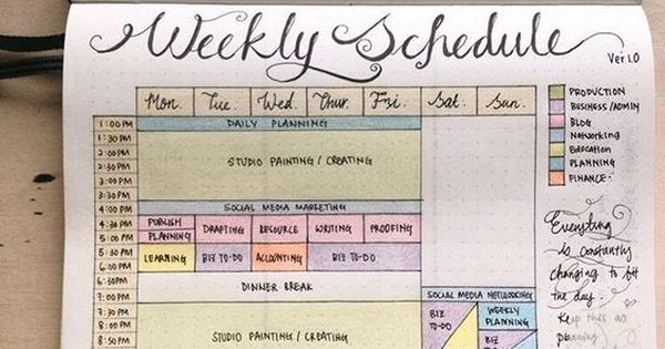 @penpapersoul Bullet Journal: A page of Weekday Studio Timetable as my basic guideline in planning my day.: #bulletjournaljunkies #bulletjournal | Pinterest | …