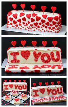 """Cut into this beautiful Red and White Heart Cake and you'll find a Raspberry Lemon """"I ❤️ You"""" Valentine's Day Reveal Cake. See the tutorial at http://HungryHappenings.com"""