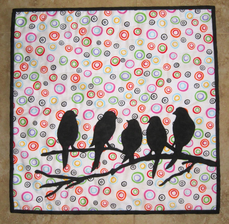 BIRDS Mini Quilt from Quilts by Elena  Silhouette Applique Wall Hanging. $60.00, via Etsy.