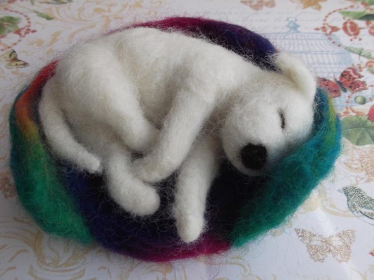 needle felted sleeping dog