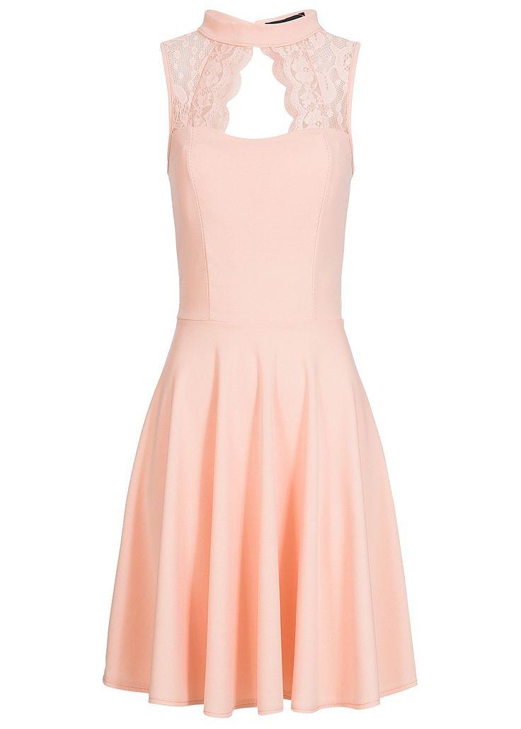 styleboom fashion damen kleid spitze oben brustpads rosa