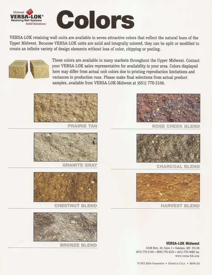 Optional Stone Color Of Versa Lok For Exterior Design