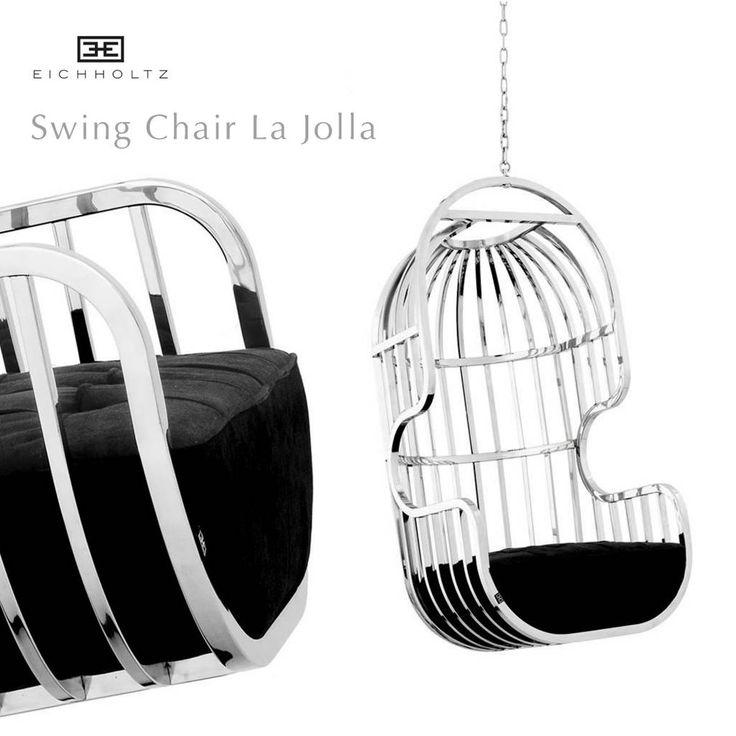 EICHHOLTZ SWING CHAIR/HANGSTOEL LA JOLLA HANSTOEL AAN KETTING Prachtige hangstoel met zwarte stof en gepolijst staal. Swing chair la Lola van Eichholtz.