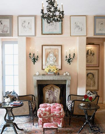 Antique patina is a theme that runs throughout the decor of designer Penelope Bianchi's Santa Barbara, California home. The pale pink walls of the master bedroom give the room a romantic glow.