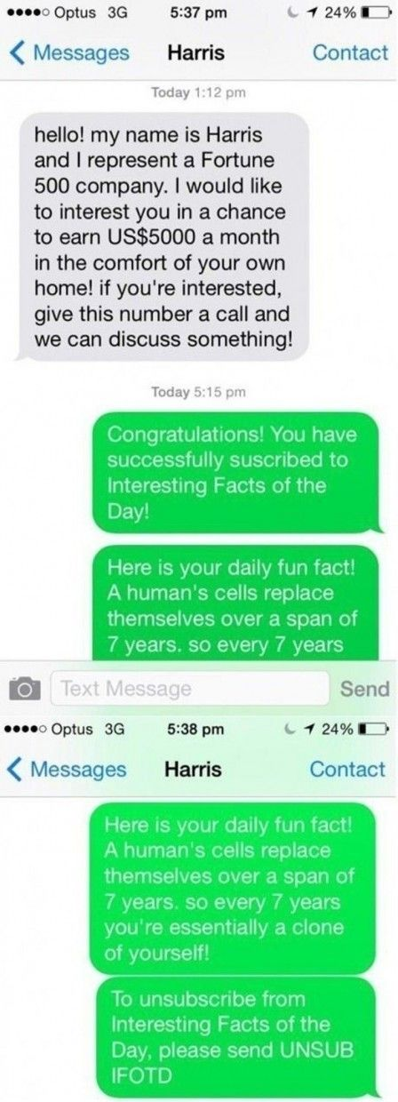 The Way This Guy Replies To A Text Scammer Is So Hilarious I Just Died Laughing. - http://www.lifebuzz.com/best-reply/
