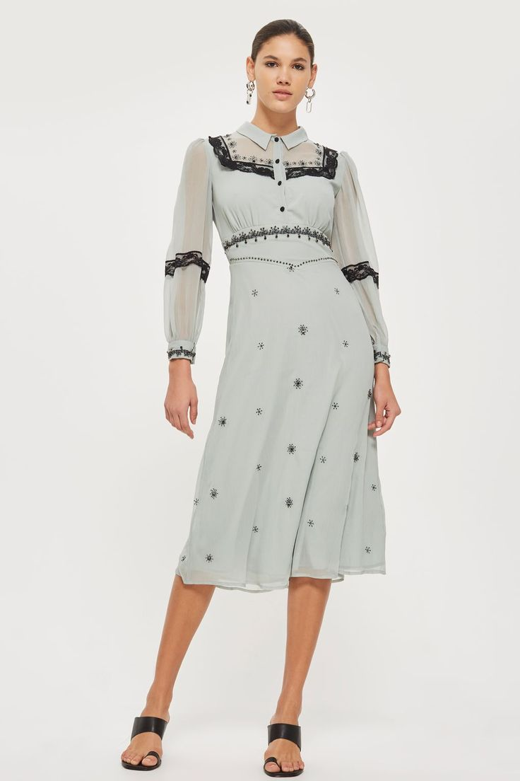 Western Trim Midi Dress