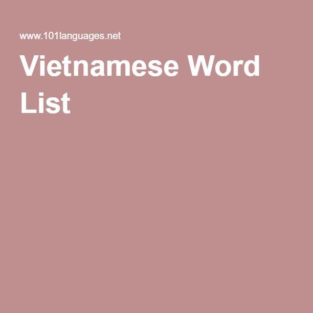 Vietnamese Word List