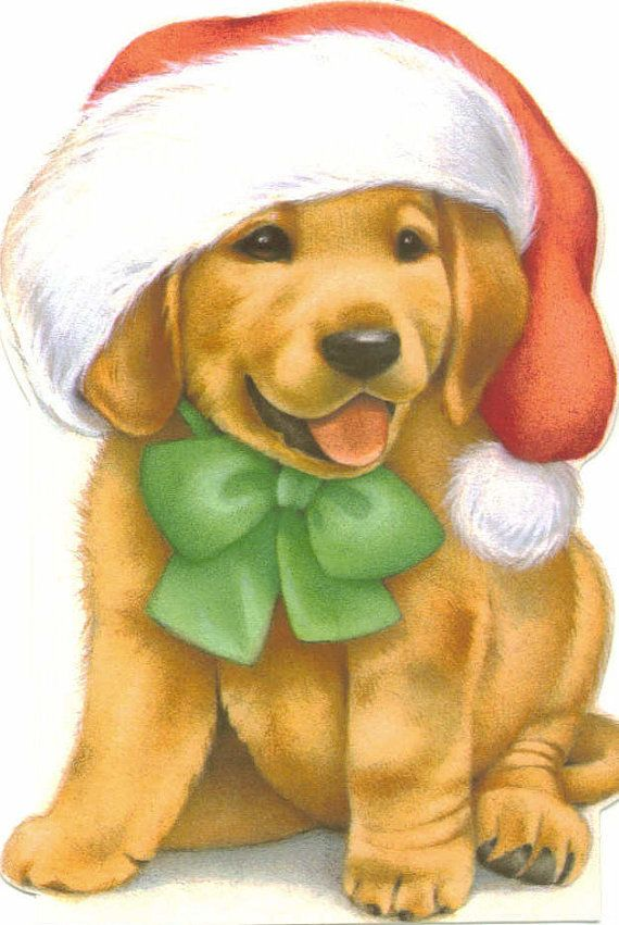 Vintage Christmas Card UNUSED Santa Puppy by TheVintageGreeting, $4.95  SO SWEET!!