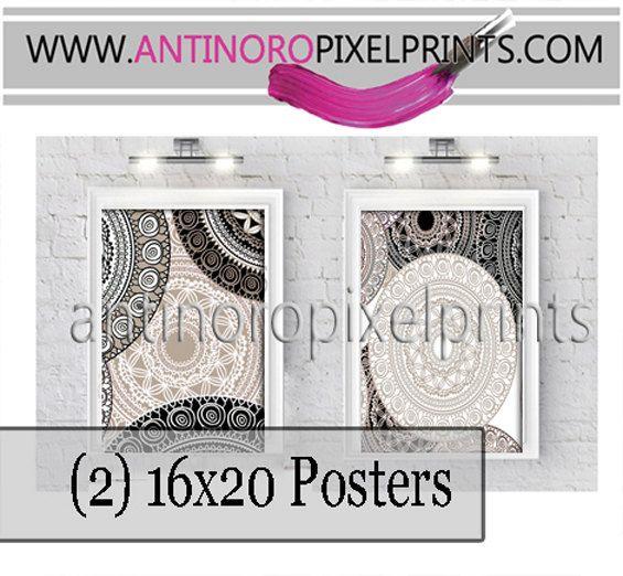 Geometric Black Khaki Poster Wall Art  Set by antinoropixelprints