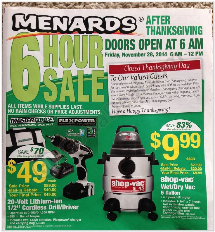 Check out the 2014 Menards Black Friday Ad Scan for 2014 here on GottaDeal.com. We post all the leaked Black Friday sales for you to browse. The Menards Black Friday Ad Scan for 2014 has 40 total pages this year.
