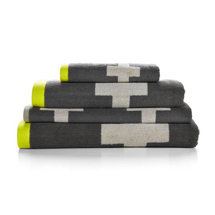 Aura Charcoal Crosses Towel Co-ordinates - towels - queenb