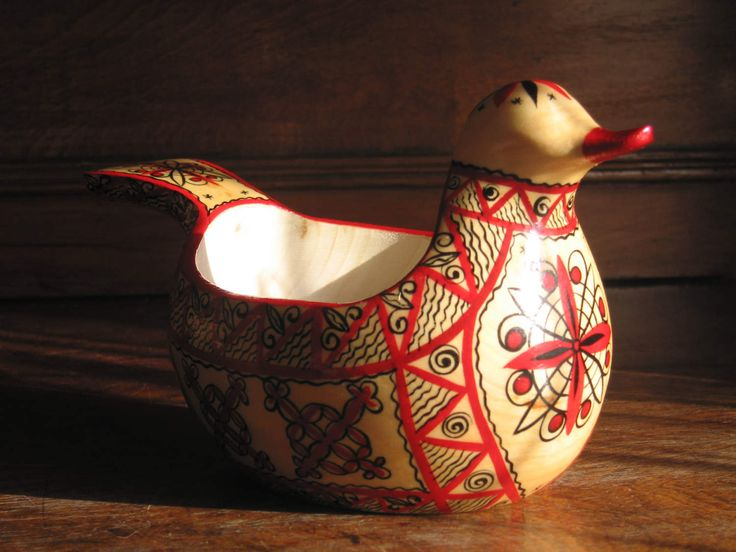 """Ladle """"Utitsa"""", Russian traditional ladle for drinking or salt, Mezen painting, folk, ethnic style by RussianStore on Etsy"""