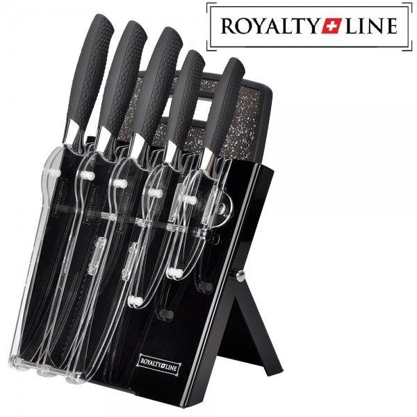 Deze 7-delige messenset van het merk Royalty Line. Speciaal ontworpen en gemaakt voor optimaal snijcomfort.!  5 essentiële keukenmessen + Luxe houder + Snijplank