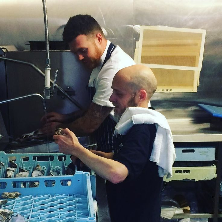 Big brother little brother wee man on the pots cleaning up the oyster shells under the watchful eye of @cheftombrown @thefrenchmcr #inthekitchenwith