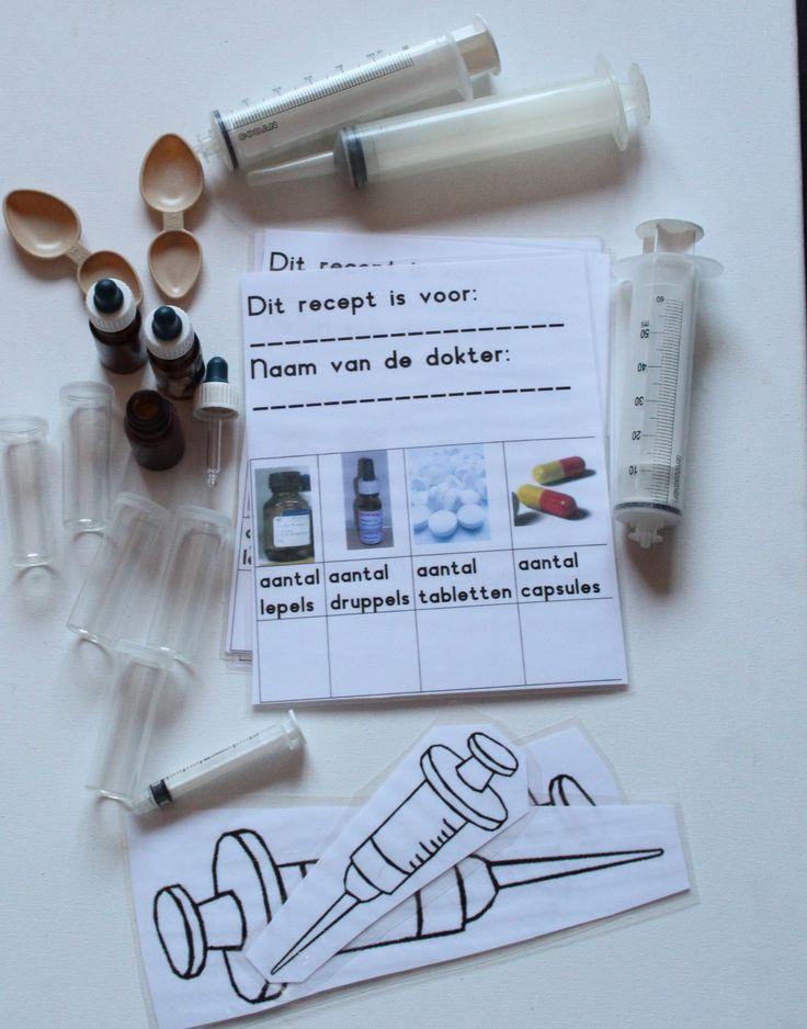 Opdrachten voor druppelen met de pipet. Met ecoline kleurtjes maken voor de verschillende flesjes.