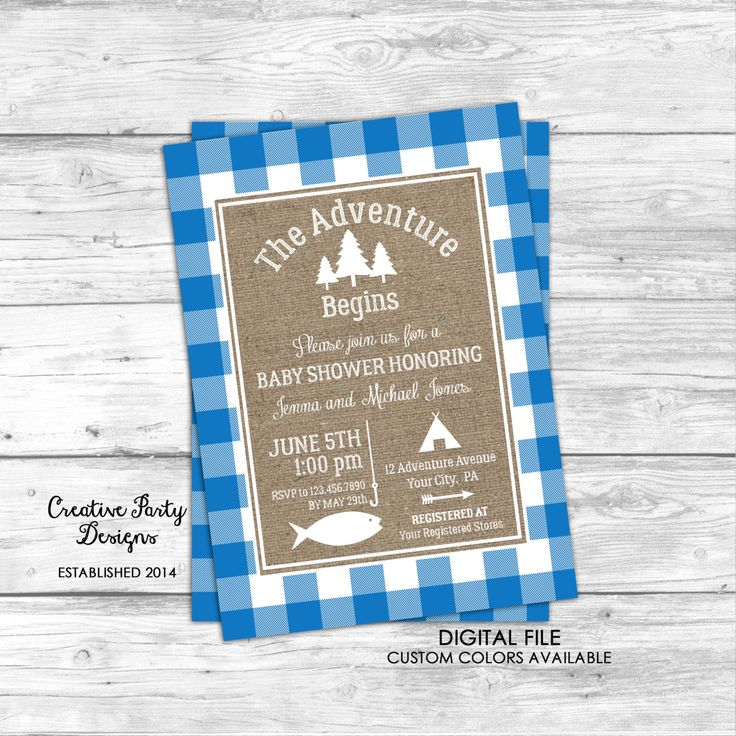 The Adventure Begins Baby Shower Invitation - Fishing Baby Shower Invitation - Camping Baby Shower Invitation - Baby Boy Shower Invitation by CreativePartyDesigns on Etsy