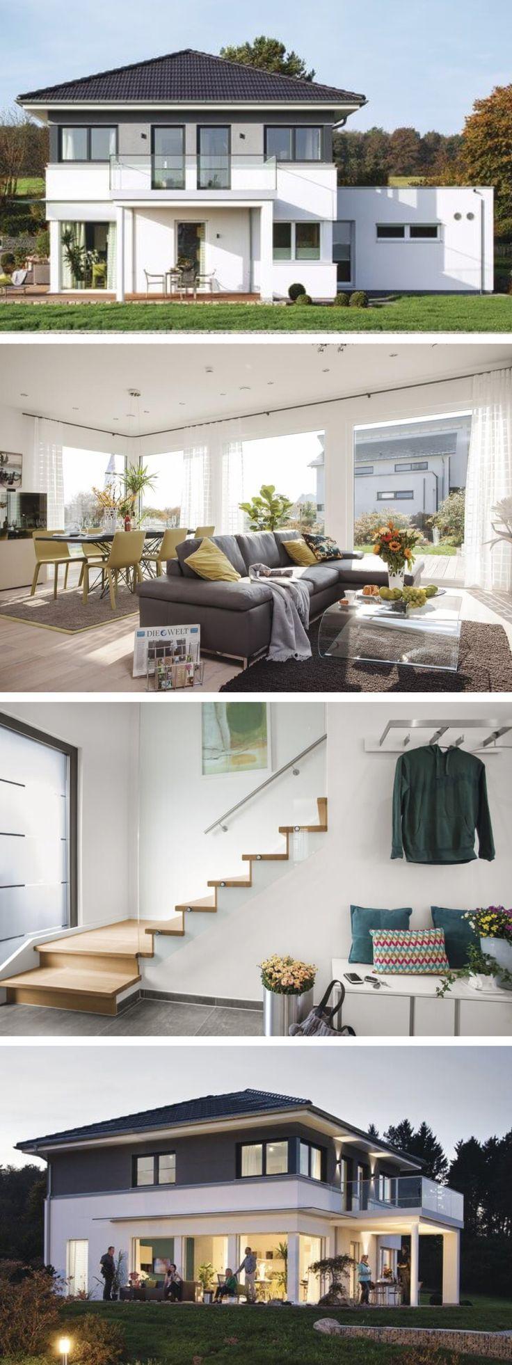 Stadtvilla modern mit Walmdach Architektur und Flachdach Anbau – Haus Ideen City Life 700 WeberHaus Fertighaus – HausbauDirekt.de
