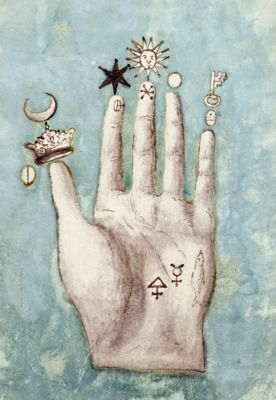 Alchemical symbols on The Hand of Philosophy, from 1667. A salamander surrounded by flames can be seen on the palm. At the time, salamanders were thought to have mystical properties. Alchemy was the pseudo-scientific predecessor of chemistry. Among other pursuits, alchemists searched for formulas that would turn base metals into gold.