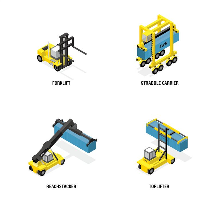Container, Forklift, Straddle Carrier, Reach stacker, Toplift