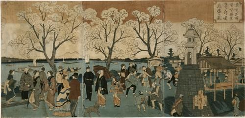Japanese triptych print showing Japanese and foreign people walking along the Sumida River among cherry trees in full bloom - Hiroshige