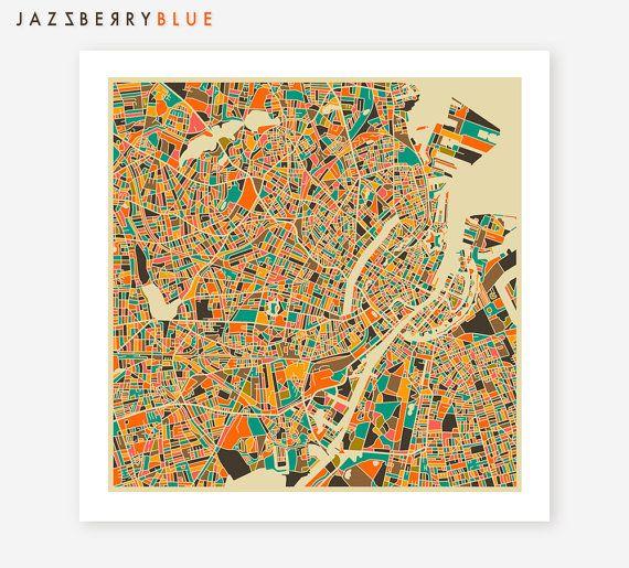COPENHAGEN Map Giclee Fine Art Poster Print by JazzberryBlue, $29.00