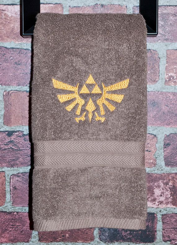 Zelda geek christmas gift  triforce crest of Hyrule nintendo inspired bathroom hand towel housewares snes