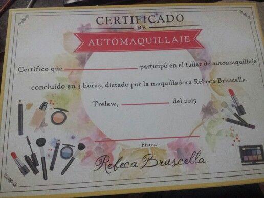 Certificado del taller de Automaquillaje :D
