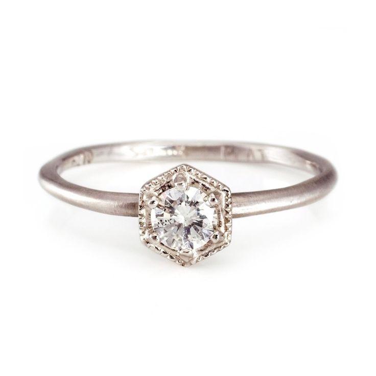 HEXAGON RING, WHITE DIAMOND, PLATINUM Satomi Kawakita
