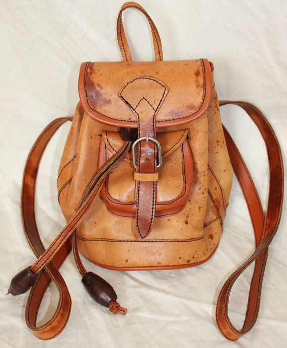 tiny backpack // vintage leather bag // 70s purse // camping style // $20