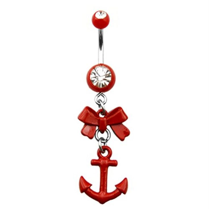 BodyJ4You® Crystalline Gem Red Bow Anchor Dangle Belly Ring
