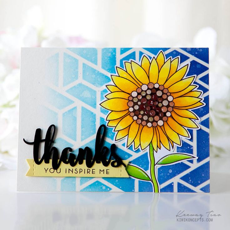 (Altenew idea...) For My Sunflower' stamp set and Neat & Tangled's Polygon stencil. blended distress inks Chipped Sapphire, Blueprint Sketch, and Salty Ocean over the stencil. Bkgnd was lightly distressed with a sprinkle of water and white watercolor. Sunflower colored w copics. Mft Thanks x3, mft banner and sentiment from Altenew painted butterflies