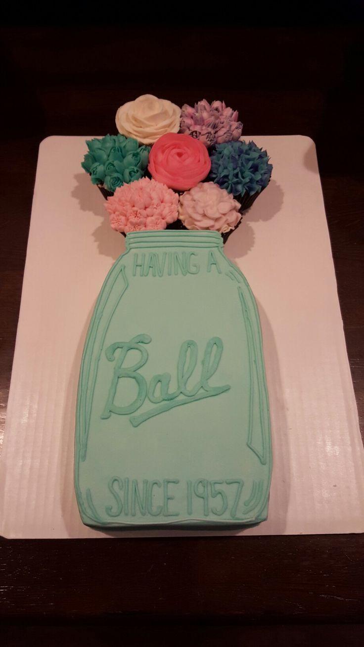 Mom's 60th birthday, mason jar cake, having a ball cake, cupcake flowers