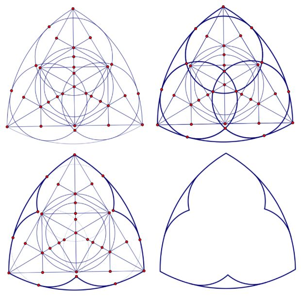 Image of geometric construction of trefoil tracery (for a Gothic cathedral window.)