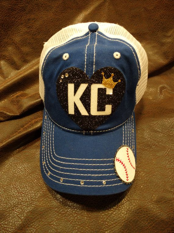 kansas city blues baseball hats capacity monarchs hat heart kc glitter trucker