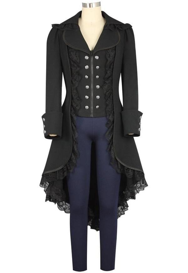 Eleganter Smoking-Blazer Frauen Vintage Punk Jacke Steampunk Gothic Langarm Jacke Retro Mittellang Mantel Kost/üm Cosplay Uniform Steampunk Damen Mantel