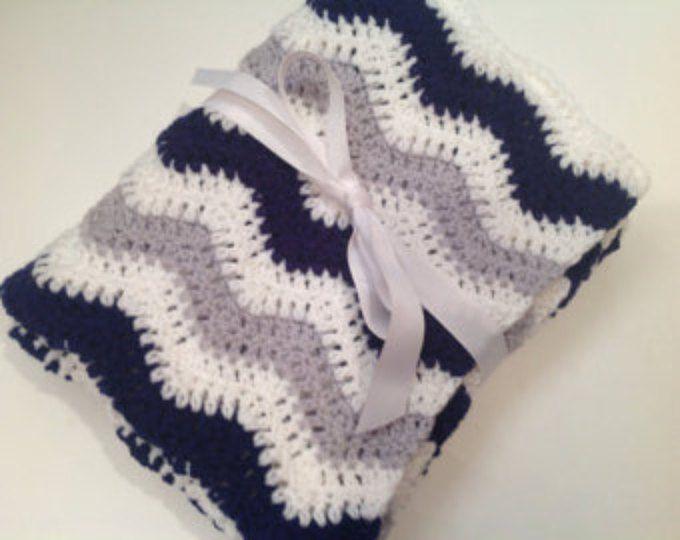 Baby blanket crochet light gray navy blue white ripple chevron car seat blanket