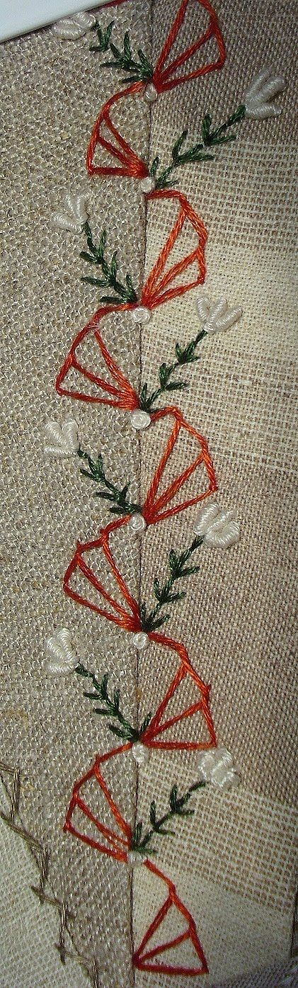 CRAZY QUILT FLOSS EMBROIDERY.........PC............Nice way to embroider a seam. Victorian crazy quilt seam treatment. [Stickamazonen: 3. Stickaufgabe]