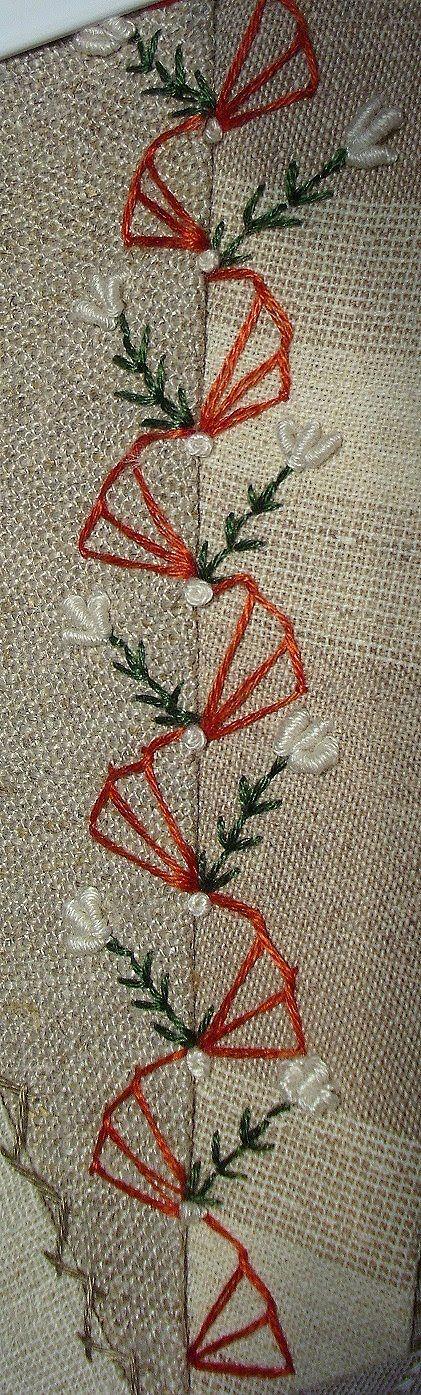 Nice way to embroider a seam.  Victorian crazy quilt seam treatment. [Stickamazonen: 3. Stickaufgabe]