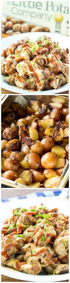 Grilled potatoes with creamy barbecue dressing, bacon and green onions ...