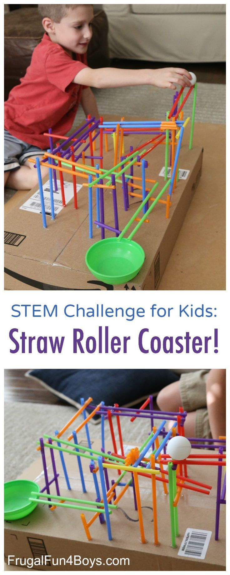 Engineering Project for Kids: Build a Straw Roller Coaster! Use straws to create a track that a ping pong ball will roll on. Fun STEM challenge for kids! More